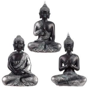 Decorative Black  and  Silver Thai Buddha - Meditation