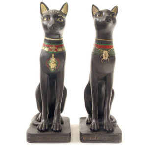 Decorative Black Bast Cat Egyptian Figurine