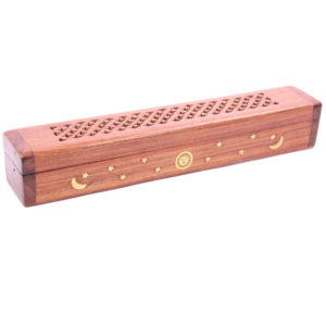 Decorative Sheesham Wood Box with Sun and Stars Design