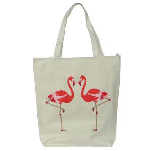 Handy Cotton Zip Up Shopping Bag - Flamingo