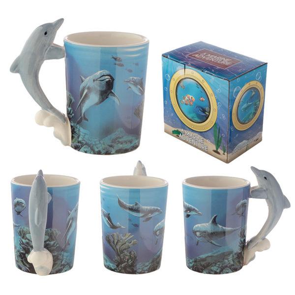 Ceramic Sealife Printed Mug with Dolphin Handle