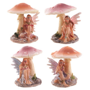 Cute Flower Fairy Sheltering Under Mushroom Figurine