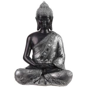 Decorative Black  and  Silver Thai Buddha - Tea Light Holder