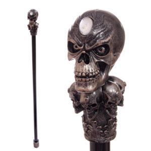 Decorative Walking Stick with Fantasy Bronze Multi Skull Top