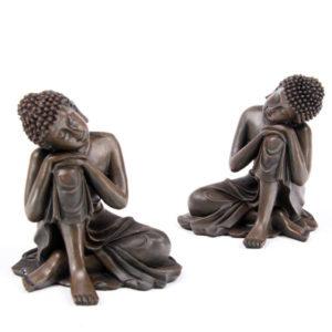 Decorative Wood Effect Thai Buddha with Head on Knee