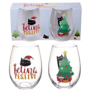 Fun Christmas Cat Glass Tumbler Set of 2