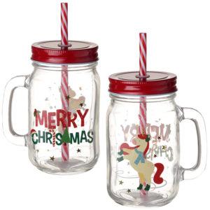 Fun Christmas Mason Drinking Jar - Unicorn