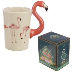 Fun Flamingo Shaped Handle Ceramic Mug