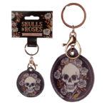 Fun Leatherette Skulls and Roses Keyring