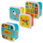 Fun Space Design Set of 3 Plastic Lunch Boxes