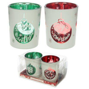 Glass Candleholder Set of 2 - Christmas Bauble