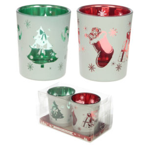 Glass Candleholder Set of 2 - Christmas Designs