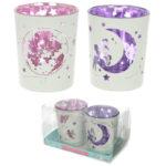 Glass Candleholder Set of 2 - Fairy Moon