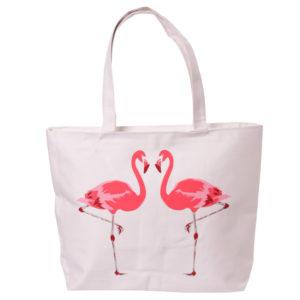 Handy Cotton Zip Up Shopping Bag - Funky Flamingo