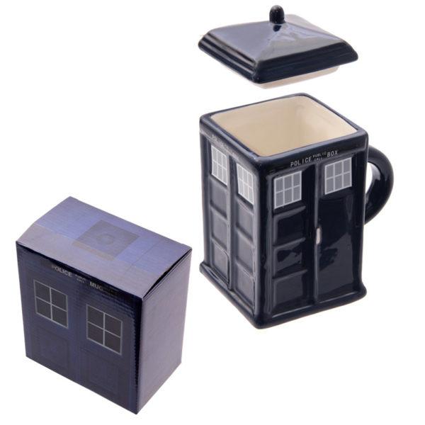 Novelty Ceramic Police Box Square Mug with Lid