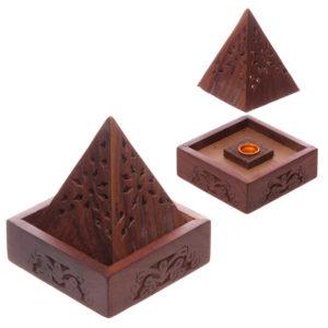 Pyramid Sheesham Wood Incense Cone Box with Fretwork
