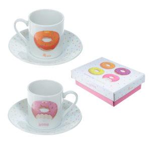 Set of 2 Espresso Cup and Saucer - Donut Design