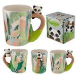 Cute Collectable Panda Shaped Handle Ceramic Mug