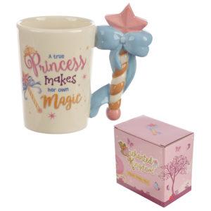 Cute Princess Wand Shaped Handle Ceramic Mug