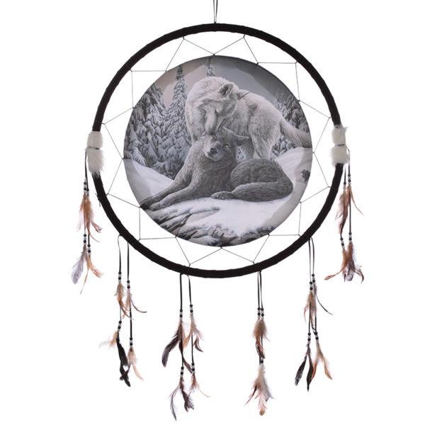 Decorative Wolf Snow Kisses 60cm Dreamcatcher