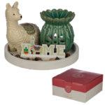 Eden Aroma Set - Cactus Oil Burner  and  Llama Ceramic Figurine