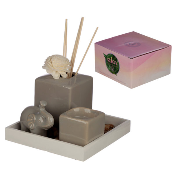 Eden Aroma Set - Elephant Reed Diffuser  and  Candle Holder