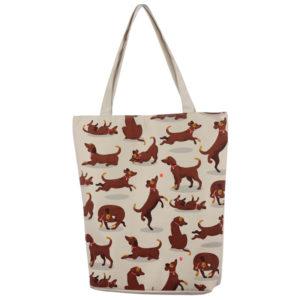 Handy Cotton Zip Up Shopping Bag - Catch Patch Dog Design