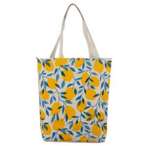 Handy Cotton Zip Up Shopping Bag - Lemons