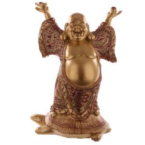 Decorative Chinese Buddha Figurine - Riding Turtle