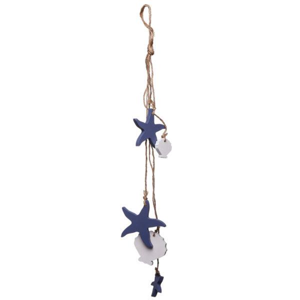 Wooden Starfish and Shells Nautical Hanging Decoration