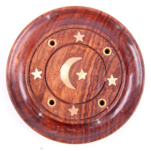 Decorative Sheesham Wood Round Ashcatcher Moon and Stars
