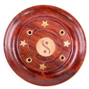 Decorative Sheesham Wood Round Yin Yang Ashcatcher