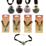 Gemstone  and  Mineral Chipped Orb Pendant Choker Necklace