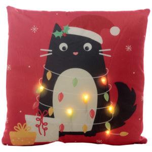 Decorative LED Cushion - Christmas Festive Feline Cat