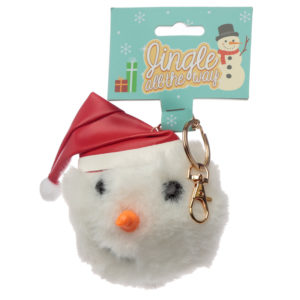 Fun Collectable Pom Pom Keyring - Christmas Snowman