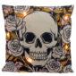 Decorative LED Cushion - Skulls and Roses