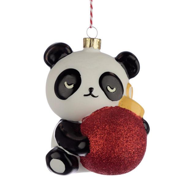 Glass Christmas Bauble - Pandarama Panda with Bauble