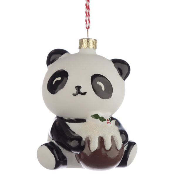Glass Christmas Bauble - Pandarama Panda with Xmas Pud