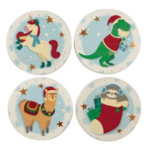 Set of Novelty Coasters - Christmas Festive Friends