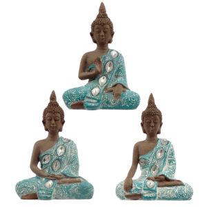 Decorative Turquoise and Brown Buddha Figurine - Lotus