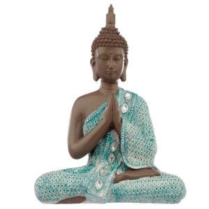 Decorative Turquoise and Brown Buddha Figurine - Meditating