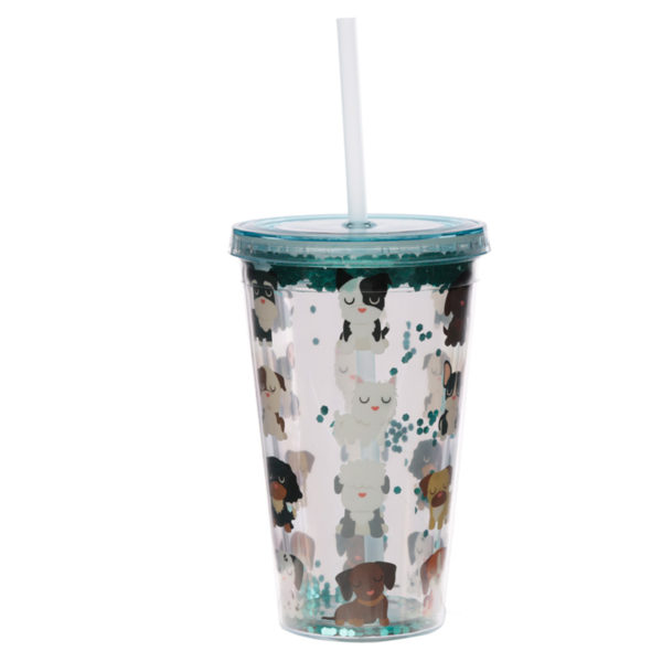 Dog Squad Double Walled Cup with Lid and Straw