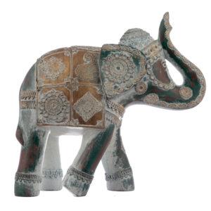 Large Decorative Turquoise and Gold Elephant