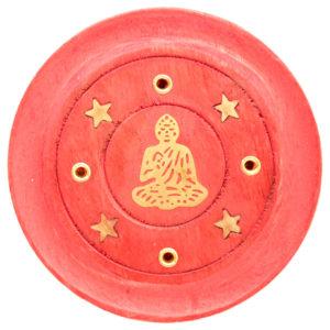Decorative Round Buddha Wooden Red Incense Burner Ash Catcher