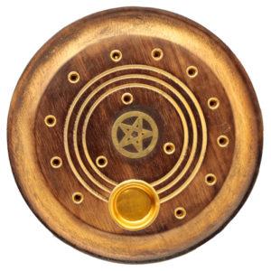 Decorative Round Pentagram Wooden Incense Burner Ash Catcher