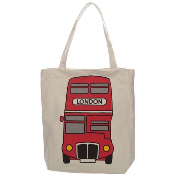 Handy Cotton Zip Up Shopping Bag - London Bus