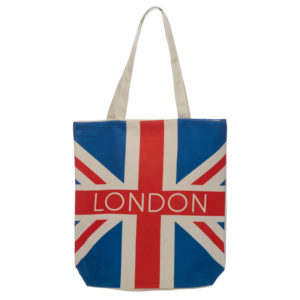 Handy Cotton Zip Up Shopping Bag - London Union Jack Flag