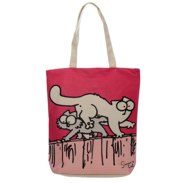 Handy Cotton Zip Up Shopping Bag - New Pink Simon's Cat
