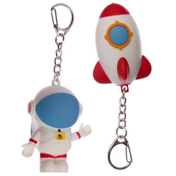 Rocket and Space Cadet Retro Light and Sound LED Keyring