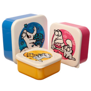 Simon's Cat Set of 3 Plastic Lunch Boxes (M